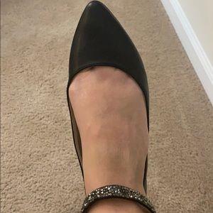 BCBG pointy black gem ankle flats